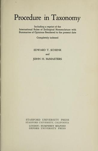 Foto do produto Procedure in Taxonomy