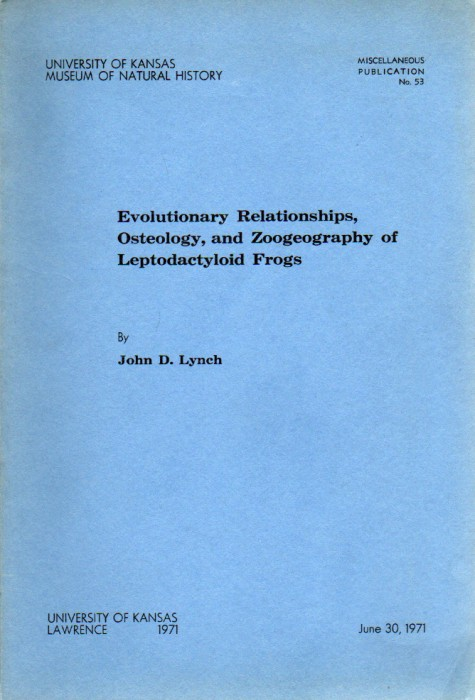 Foto do produto Evolutionary relationships, osteology, and zoogeography of leptodactyloid frogs