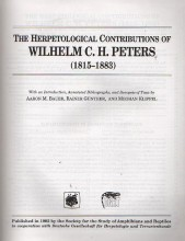 The Herpetological Contributions of Wilhelm C.H. Peters (Facsimile Reprints in Herpetology)