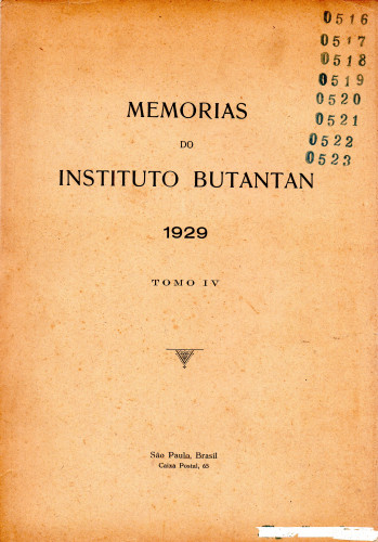 Memórias do Instituto Butantan (1929) Tomo 4